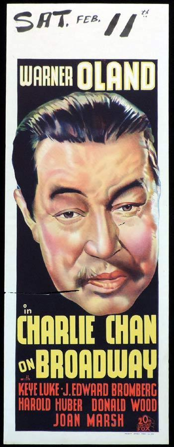 CHARLIE CHAN ON BROADWAY Long Daybill Movie poster 1937 Warner Oland