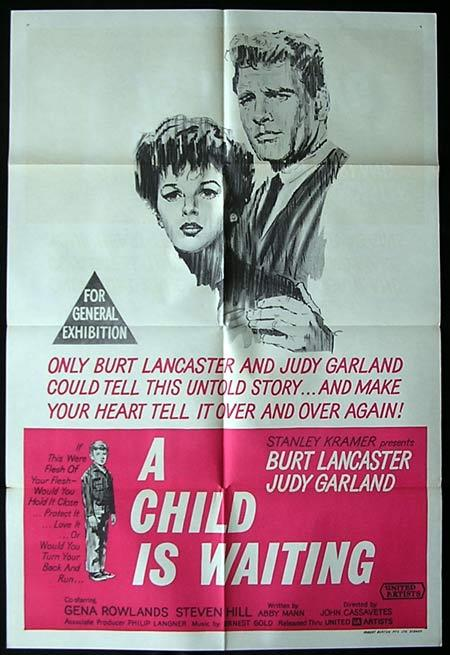 A CHILD IS WAITING One Sheet Movie Poster Judy Garland Burt Lancaster