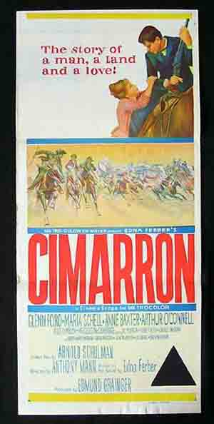 CIMARRON '61 Glenn Ford Maria Schell ORIGINAL Daybill Movie poster