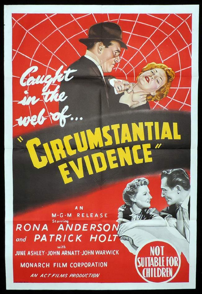 CIRCUMSTANTIAL EVIDENCE Original One sheet Movie Poster Rona Anderson British Film Noir