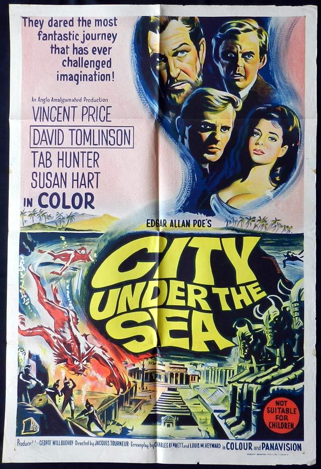 CITY UNDER THE SEA Original One sheet Movie poster Vincent Price Sci Fi