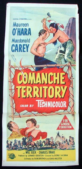 COMANCHE TERRITORY Movie poster Maureen O'Hara MacDonald Carey