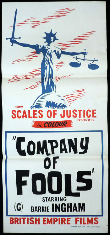 COMPANY OF FOOLS Daybill Movie poster Edgar Lustgarten Barrie Ingham SCALES OF JUSTICE