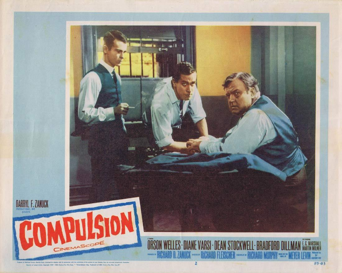 COMPULSION Lobby Card 2 Orson Welles Diane Varsi Dean Stockwell