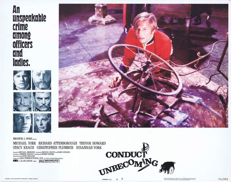 CONDUCT UNBECOMING Lobby Card 4 Michael York Richard Attenborough Trevor Howard