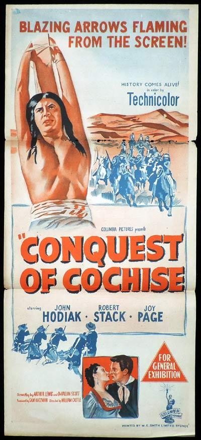CONQUEST OF COCHISE Daybill Movie Poster Robert Stack Western