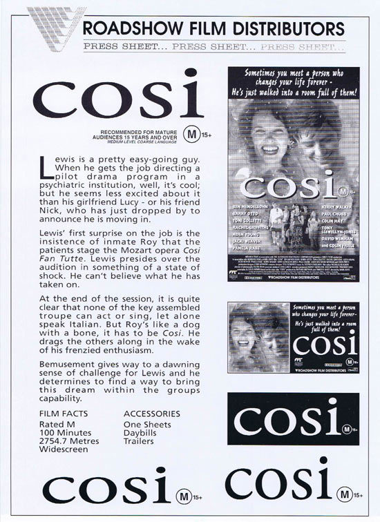 Cosi, Mark Joffe, Ben Mendelsohn, Toni Collette, Barry Otto, David Wenham, Colin Friels, Rachel Griffiths, Pamela Rabe, Kerry Walker, Colin Hay, Jacki Weaver, Aden Young, Paul Chubb, Greta Scacchi, David Wenham, Tony Llewellyn-Jones, Robin Ramsay, Henry Maas, Jack Walsh, Lawrence Woodward, Brian Ellison