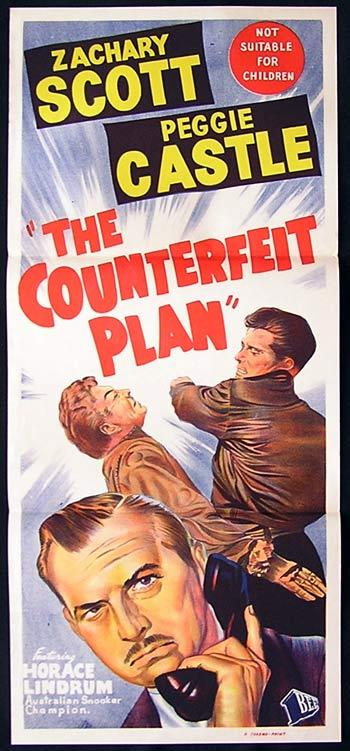 THE COUNTERFEIT PLAN Daybill Movie poster Zachary Scott Film Noir