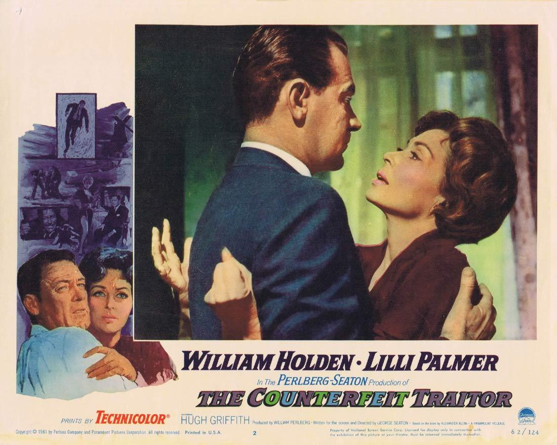 THE COUNTERFEIT TRAITOR Lobby Card 2 William Holden Lilli Palmer Hugh Griffith