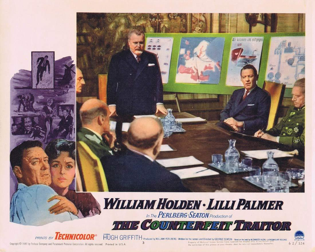 THE COUNTERFEIT TRAITOR Lobby Card 3 William Holden Lilli Palmer Hugh Griffith