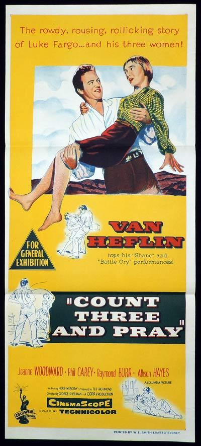COUNT THREE AND PRAY Original Daybill Movie Poster Van Heflin