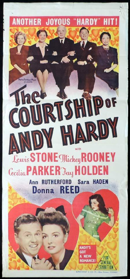 THE COURTSHIP OF ANDY HARDY Original Daybill Movie Poster Mickey Rooney Marchant Graphics