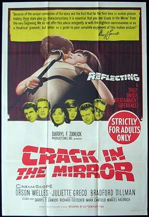 Crack in the Mirror, Movie poster, Richard Fleischer, Orson Welles, Juliette Gréco, Bradford Dillman, Alexander Knox, Catherine Lacey, William Lucas, Maurice Teynac, Austin Willis, Cec Linder, Eugene Deckers, Yves Brainville, Vivian Matalon, Jacques Marin, Martine Alexis, Marc Doelnitz, Bradford Dillman, Juliette Gréco, Orson Welles