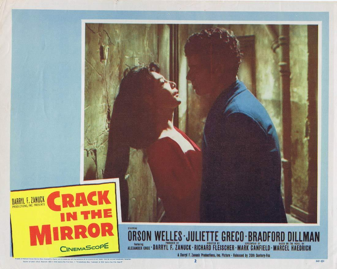 Crack in the Mirror, Lobby Card, Movie Poster, Richard Fleischer, Orson Welles, Juliette Gréco, Bradford Dillman, Alexander Knox, Catherine Lacey, William Lucas, Maurice Teynac, Austin Willis, Cec Linder, Eugene Deckers, Yves Brainville, Vivian Matalon, Jacques Marin, Martine Alexis, Marc Doelnitz, Bradford Dillman, Juliette Gréco, Orson Welles