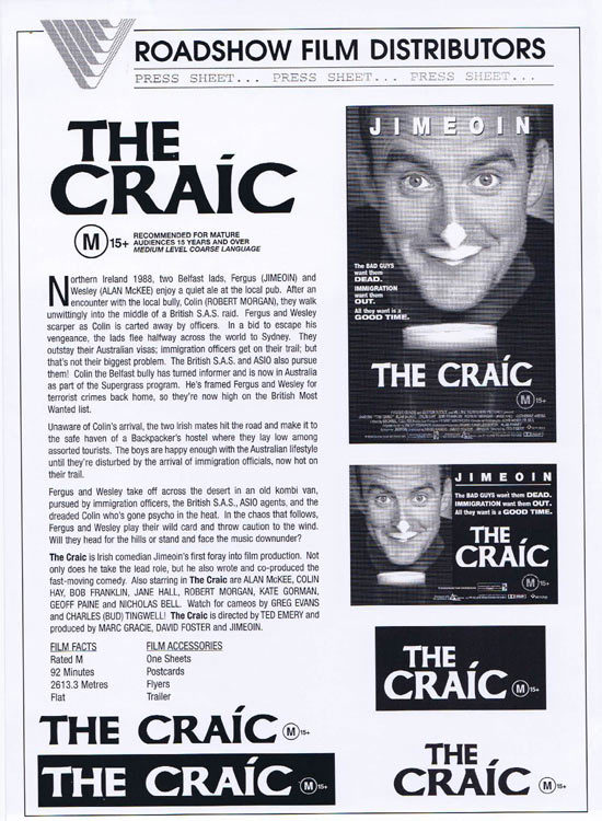 THE CRAIC Rare AUSTRALIAN Movie Press Sheet