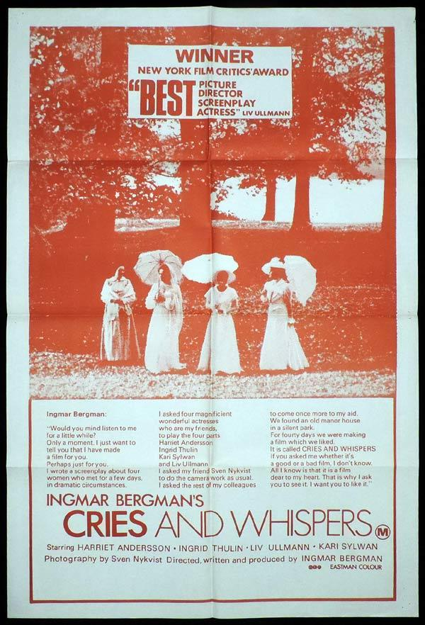 CRIES AND WHISPERS One Sheet Movie Poster Ingmar Bergman
