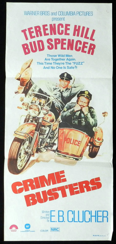 CRIME BUSTERS Terence Hill Bud Spencer Motorcycle Cop VINTAGE Daybill Movie poster