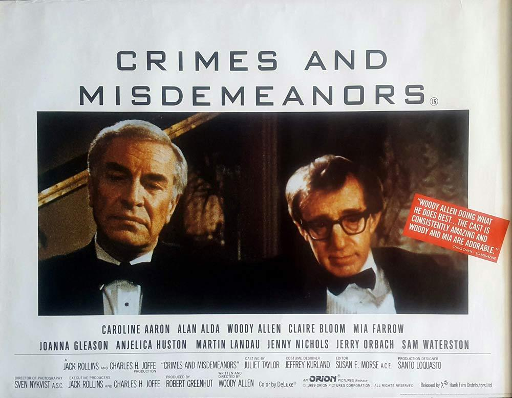 CRIMES AND MISDEMEANORS British Quad Movie poster Woody Allen