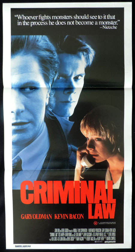 CRIMINAL LAW Original Australian Daybill Movie poster Kevin Bacon Gary Oldman