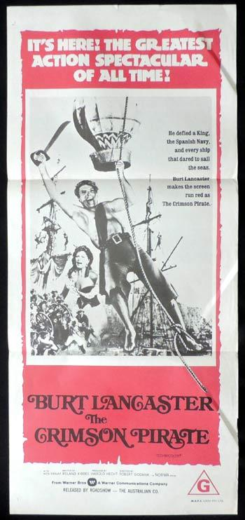 THE CRIMSON PIRATE Original Daybill Movie poster Burt Lancaster
