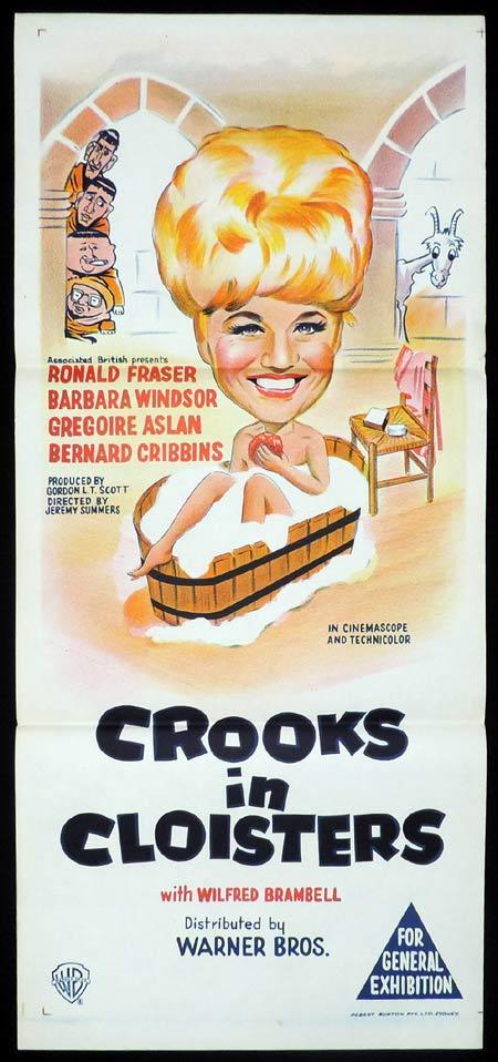 CROOKS IN CLOISTERS Original Daybill Movie Poster Barbara Windsor British Comedy
