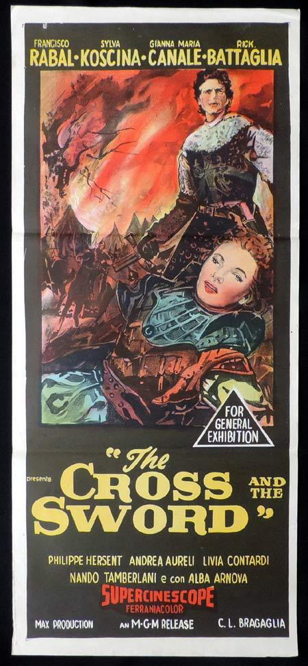 THE CROSS AND THE SWORD Daybill Movie Poster Sylvia Koscina