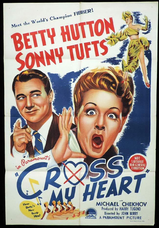 CROSS MY HEART Original One sheet Movie Poster BETTY HUTTON Sonny Tufts