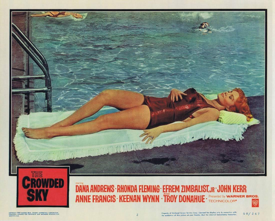 THE CROWDED SKY Lobby Card 2 RHONDA FLEMING Swimsuit