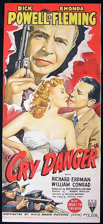 CRY DANGER Movie Poster 1951 Dick Powell Rhonda Fleming RKO Film Noir Daybill Movie poster