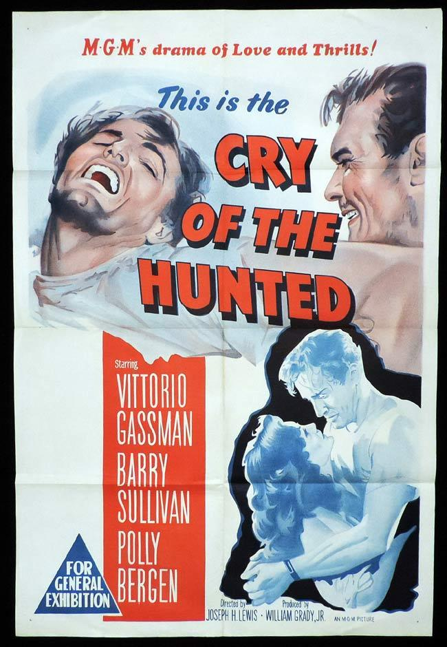 CRY OF THE HUNTED Original One sheet Movie Poster Vittorio Gassman Barry Sullivan Polly Bergen,