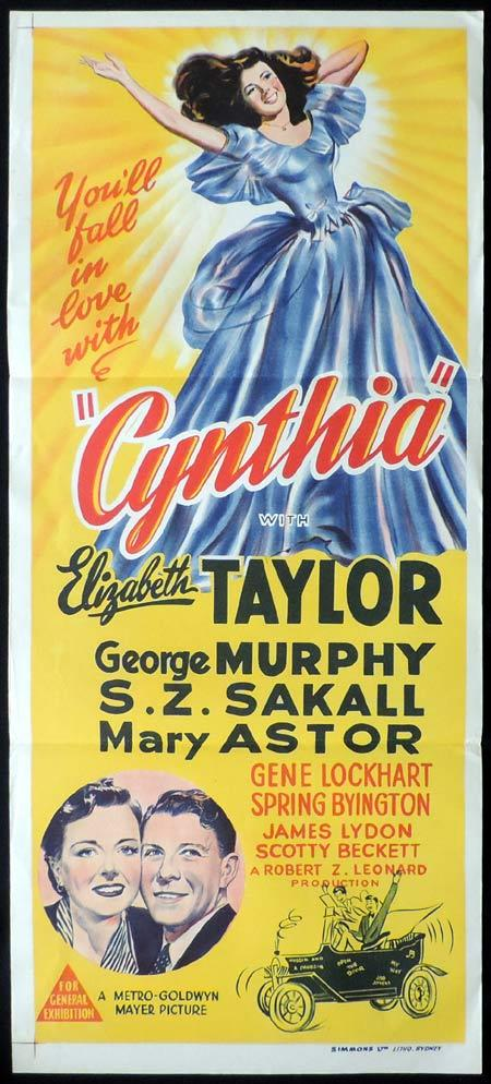 CYNTHIA Original Daybill Movie Poster Elizabeth Taylor
