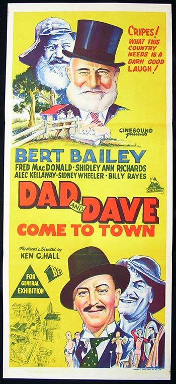 DAD AND DAVE COME TO TOWN 1962r Australian daybill poster