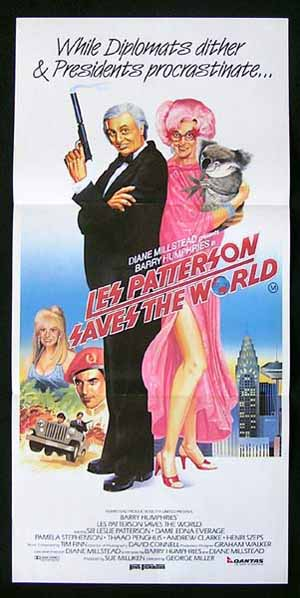 LES PATTERSON SAVES THE WORLD Australian daybill movie poster 1987 Dame Edna
