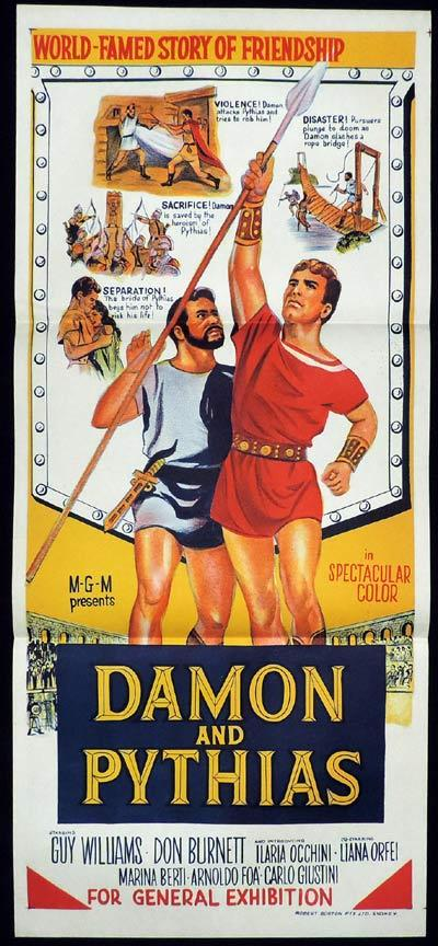 Damon And Pythias, Daybill, MOvie poster, Guy Williams, Don Burnett,  Ilaria Occhini, Liana Orfei, Marina Berti, Arnoldo Foa, Carlo Giustini