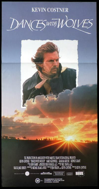 DANCES WITH WOLVES Daybill Movie poster Kevin Costner
