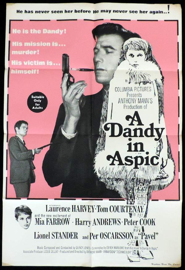 A Dandy in Aspic, Anthony Mann, Laurence Harvey, Tom Courtenay, Mia Farrow, Peter Cook, Harry Andrews
