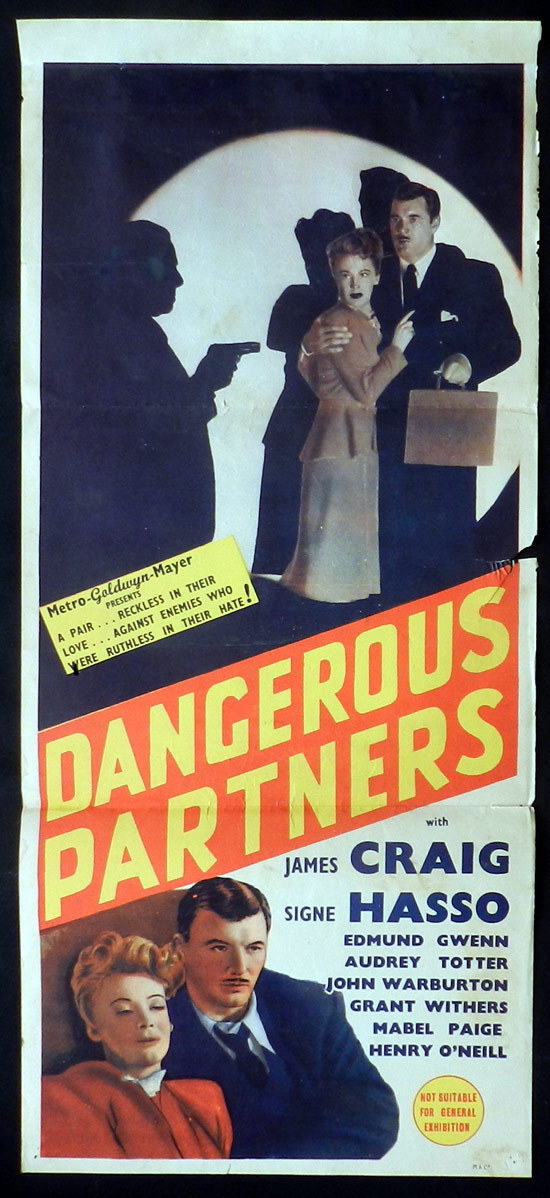 DANGEROUS PARTNERS Australian Daybill Movie poster 1945 FILM NOIR Signe Hasso James Craig