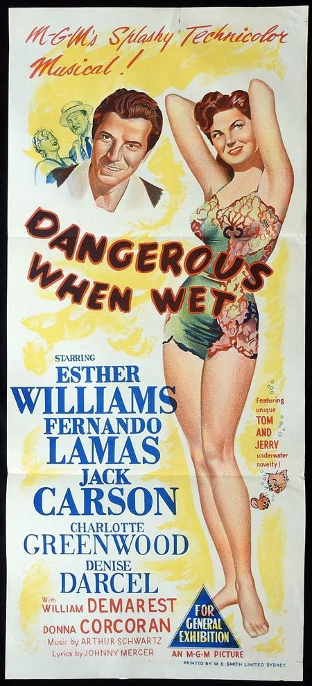 DANGEROUS WHEN WET Original Daybill Movie Poster Esther Williams Fernando Lamas Jack Carson