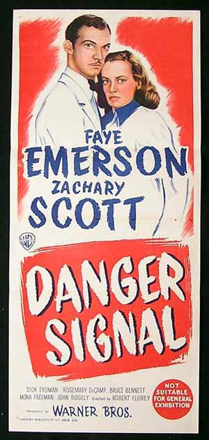 DANGER SIGNAL Daybill Movie poster Film Noir Zachary Scott