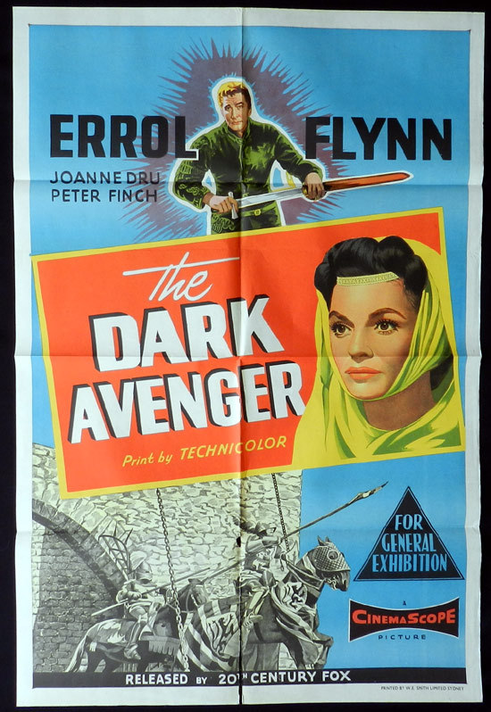 THE DARK AVENGER 1958 Errol Flynn One sheet Movie Poster