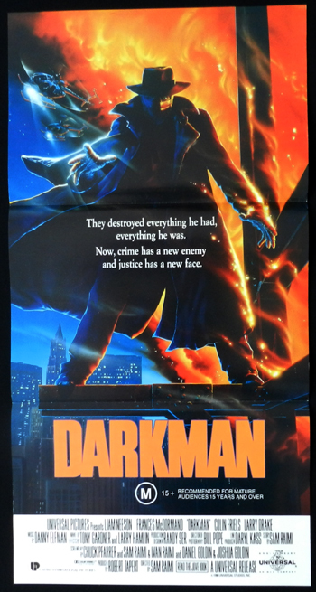 DARKMAN daybill Movie poster Sam Raimi Larry Drake