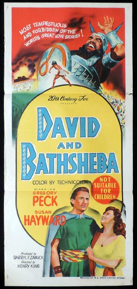 DAVID AND BATHSHEBA Original Daybill Movie Poster Gregory Peck Susan Hayward Raymond Massey