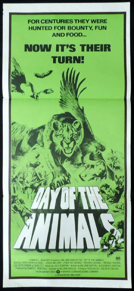 DAY OF THE ANIMALS Original Daybill Movie Poster Richard Jaeckel,