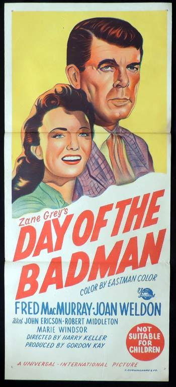 DAY OF THE BAD MAN Daybill Movie poster Fred MacMurray
