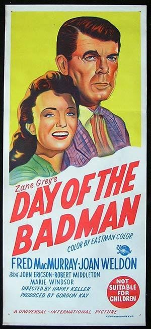 Day of the Bad Man, Harry Keller, Fred MacMurray, Joan Weldon, John Ericson, Robert Middleton, Marie Windsor, Edgar Buchanan, Eduard Franz, Skip Homeier, Peggy Converse, Robert Foulk, Ann Doran, Lee Van Cleef, Eddy Waller, Christopher Dark, Don Haggerty
