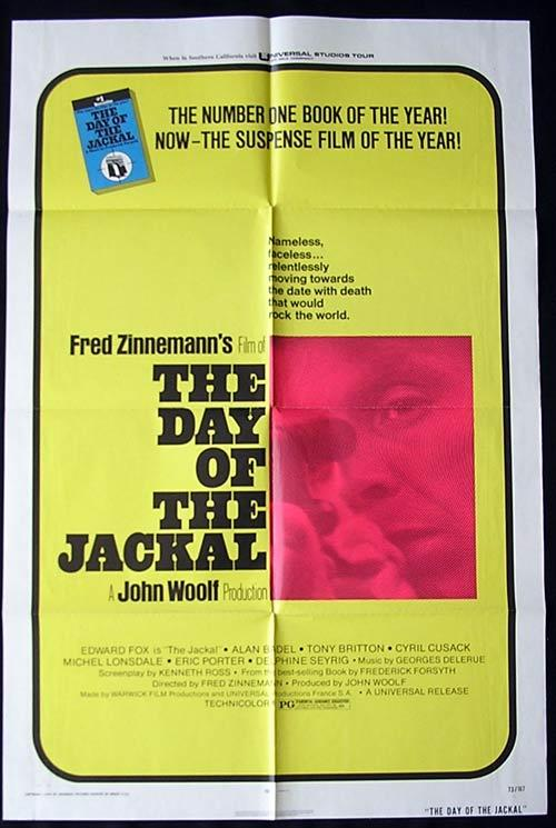 THE DAY OF THE JACKAL Original One sheet Movie poster Michel Lonsdale Edward Fox