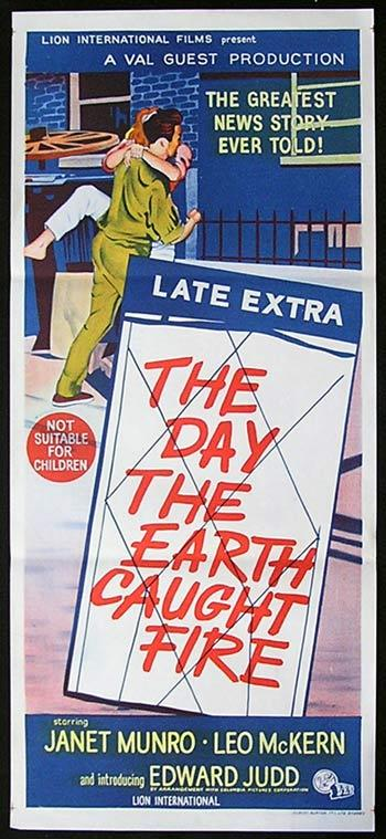 DAY THE EARTH CAUGHT FIRE Movie poster 1961 SCI FI Australian Daybill