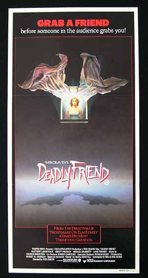 DEADLY FRIEND 1986 Australian Daybill Movie poster Wes Craven Horror