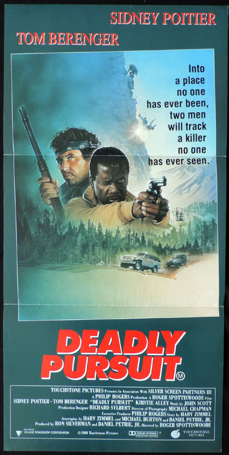DEADLY PURSUIT Daybill Movie poster Tom Berenger Sidney Poitier