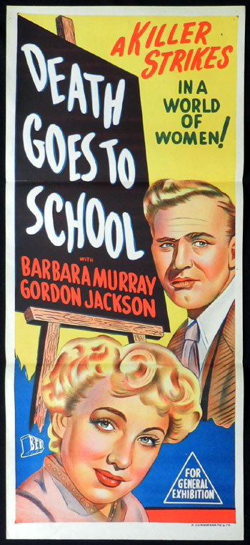 DEATH GOES TO SCHOOL 1953 Noir Daybill Movie poster